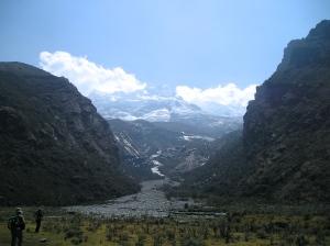 Montagne et glacier Hualcán, Cordillera Blanca, Perú